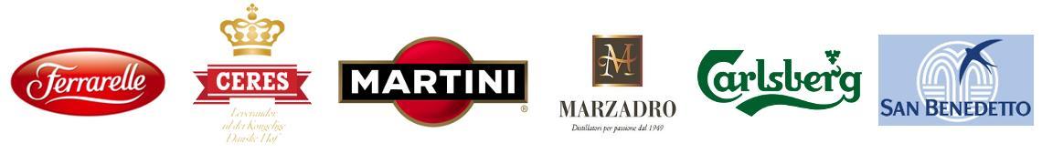 Loghi partners di Horeca Italiana: Ferrarelle, Ceres, Martini, Marzadro, Carlsberg, San Benedetto.