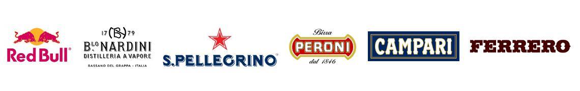 Horeca Italiana Loghi partners: Red Bull, Nardini, San Pellegrino, Peroni, Ferrero.
